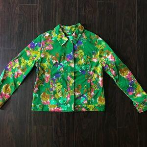 Isaac Mizrahi Garden Green Floral Jacket